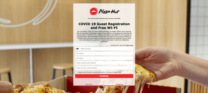 Pizza Hut Covid Registration